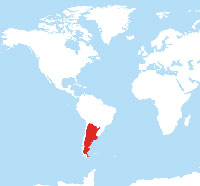 Map location of Argentina