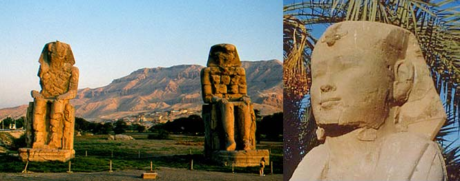 Colossi of Memnon and Pharaoh Statue at Memphis
