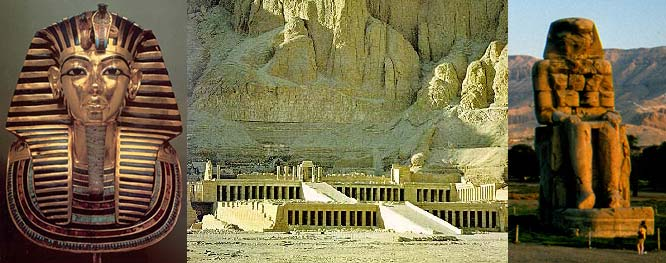 Mask of Tutankhamun, Temple of Queen Hatshepsut and Colossi of Memnon