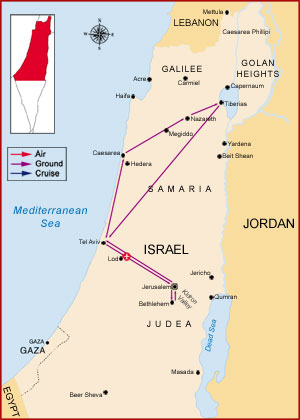 Map of Israel - Egypt & Israel Tour