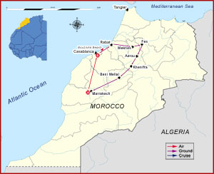 Map of Morocco Imperial Capitals Tour