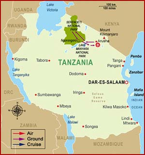 Map of Tanzania Safari