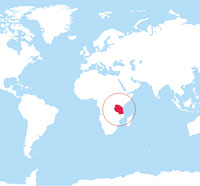 Map location of Tanzania